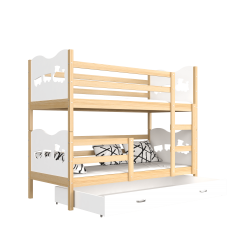 Solid pine wood bunk bed 200x90 cm Train Butterflies Hearts