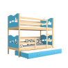 Solid pine wood roll-out bunk bed for 3 persons with mattresses and drawer 200x90 cm