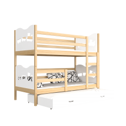 Solid pine wood roll-out bunk bed for 3 persons 200x90 cm Train Butterflies Hearts