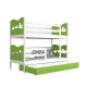 Roll-out bunk bed for 3 person 200x90 cm Train Butterflies Hearts