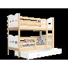 Solid pine wood bunk bed 160x80 cm Train Butterflies Hearts