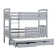 Bunk bed Beatriz for 3 person with roll-out bed 180x80 cm