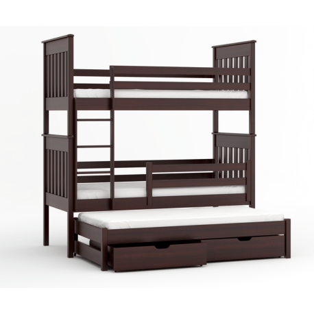 Bunk bed Juan for 3 person with roll-out bed 180x80 cm