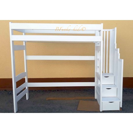 Solid pine wood loft bed Iris with stairs