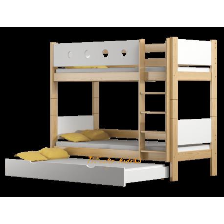 Solid pine wood bunk bed Walter 3 160x80 cm