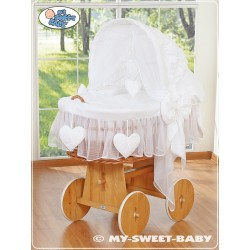 Wicker Crib Moses basket Hearts - White