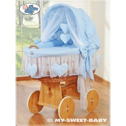 Wicker Crib Moses basket Hearts - Blue