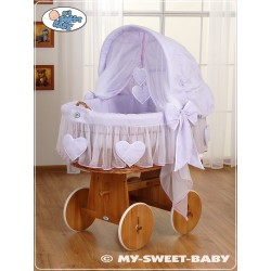 Wicker Crib Moses basket Hearts - Violet