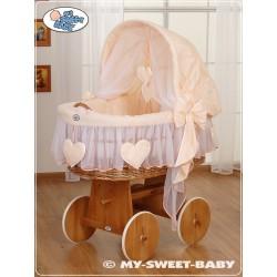 Wicker Crib Moses basket Hearts - Peach