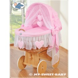 Wicker Crib Moses basket Hearts - Pink