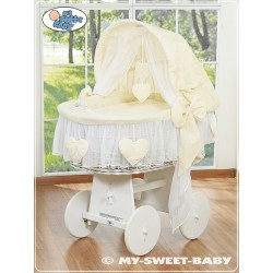 Wicker Crib Moses basket Hearts - Cream-White