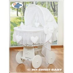 Wicker Crib Moses basket Hearts - White-White