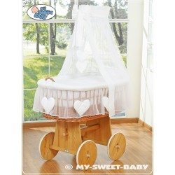 Wicker Crib Hearts - White