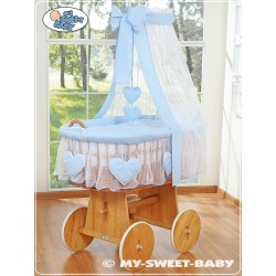 Wicker Crib Hearts - Blue