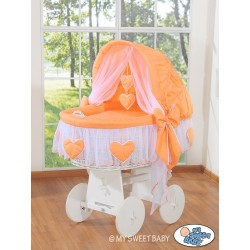 Wicker Crib Moses basket Hearts - Peach-White