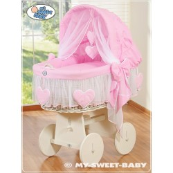 Wicker Crib Moses basket Hearts - Pink-White