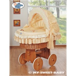 Wicker Crib Teddy - Peach