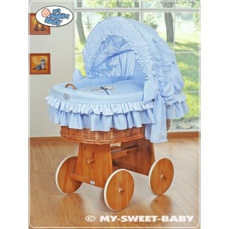 Wicker Crib Teddy - Blue