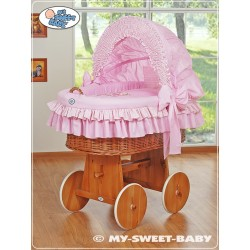 Wicker Crib Teddy - Pink