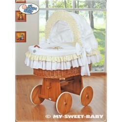 Wicker Crib Teddy - White