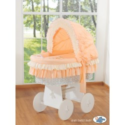 Wicker crib cradle moses basket Teddy - Peach-white