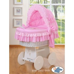 Wicker crib cradle moses basket Teddy - Pink-white