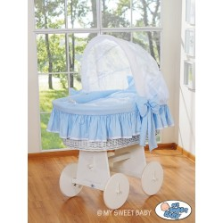 Wicker crib cradle moses basket Glamour - Blue-White