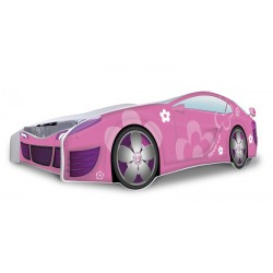 Racing Car Pink Flowers junior bed with mattress 180x80