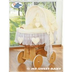 Wicker Crib Moses basket Hearts - Cream