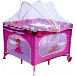 Playpen and travel cot twin doubles square 2 in 1 Pink Princess