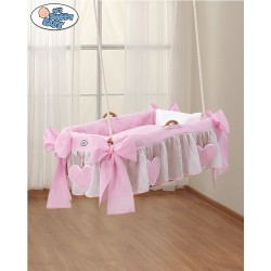 Hanging wicker baby crib Pink Hearts