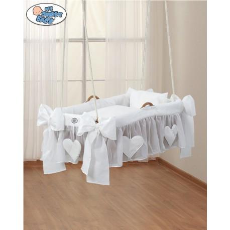 Hanging wicker baby crib White Hearts