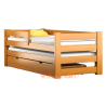 Trundle solid wood bed with drawer and mattress Pablo 190x80 cm