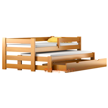 Trundle roll-out solid wood daybed with drawer and mattresses Pablo 160x80 cm