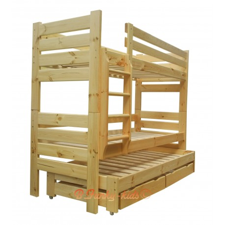 Solid pine wood roll-out bunk bed Gustavo for 3 persons with mattresses and drawers 160x80 cm