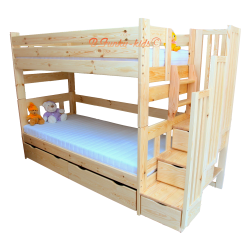 Solid pine wood bunk bed with stairs for 3 persons Enrique 3 200x90 cm