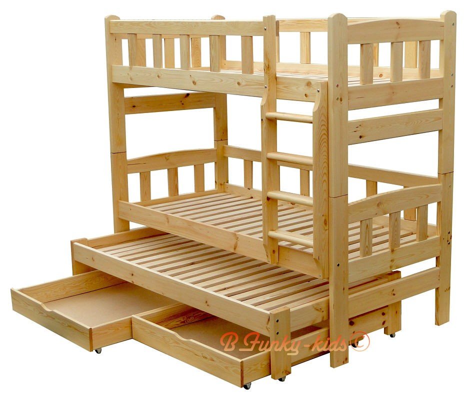 Letto A Castello 190x80.Solid Pine Wood Roll Out Bunk Bed Nicolas For 3 Person 180x80 Cm Bu