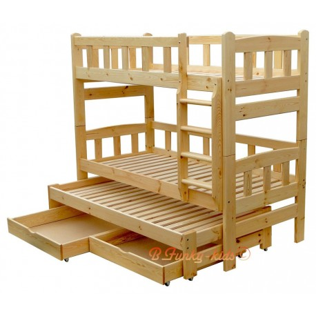 Solid pine wood roll-out bunk bed Nicolas for 3 persons with drawers 200x80 cm