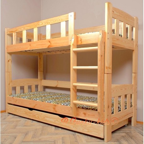 Solid pine wood bunk bed Inez with mattresses and drawer 200x90 cm