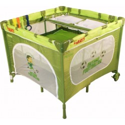 Playpen and travel cot twin doubles square 2 in 1 green football