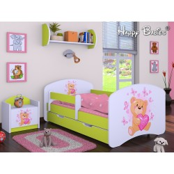 Toddler junior bed Happy Green Collection with drawer and mattress 140x70 cm