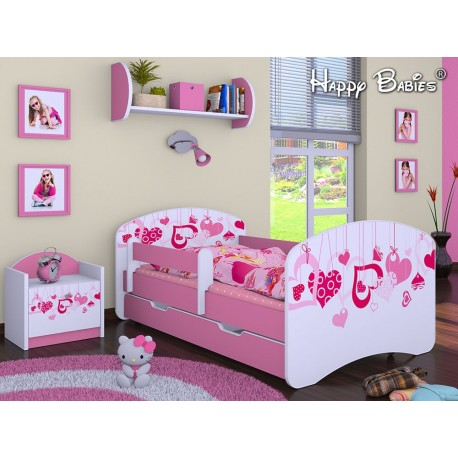 Toddler junior bed Happy Pink Collection with drawer and mattress 140x70 cm