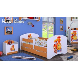 Toddler junior bed Happy Orange Collection with drawer and mattress
