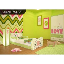 Toddler junior bed Green Dreams Collection with drawer and mattress