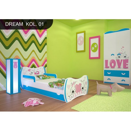 Toddler junior bed Blue Dreams Collection with drawer and mattress