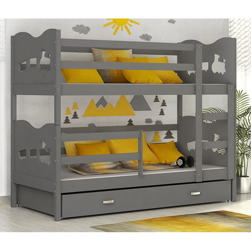 Bunk Bed 190x80 Cm Train Butterflies Hearts Bunk Beds For 2 Persons