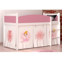 Loft bed mid sleeper Ballet with mattress and curtains