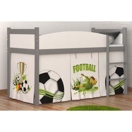 Loft bed mid sleeper Football with mattress and curtains