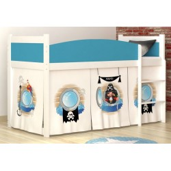 Loft bed mid sleeper Pirates 1 with mattress and curtains