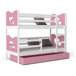 Bunk bed 190x80 cm Train Butterflies Hearts